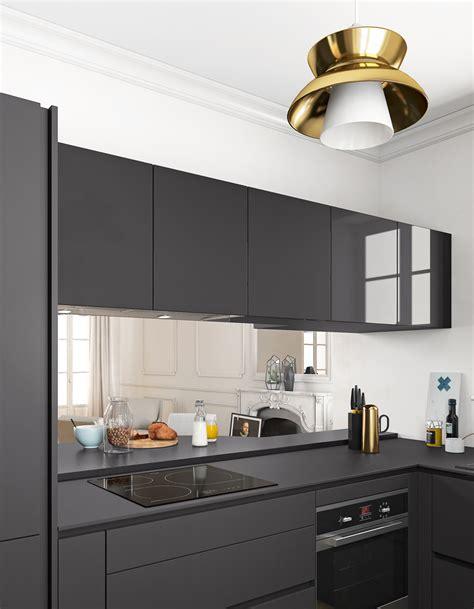 cuisine plan de travail noir un plan de travail noir mat pour une cuisine contemporaine