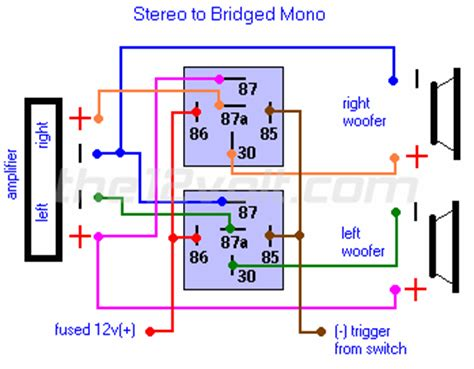 Wired Remote For Garage Door Wiring Diagram by Stereo To Bridged Mono Switched Outputs Relay Wiring Diagram