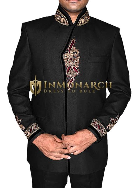 mens black linen  pc jodhpuri suits embroidered inmonarch