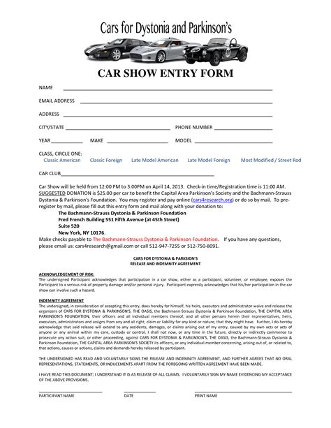car show registration form templates word excel fomats