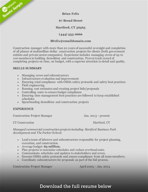 How To Write A Resume For Construction by How To Write A Construction Resume Exles Included