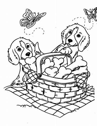 Coloring Dog Pages Dogs Basket Bone Printable