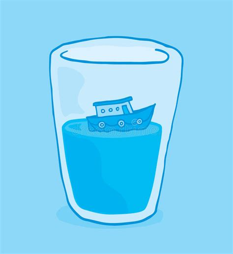 Tiny Boat Cartoon by Tiny Boat Floating On Glass Of Water Stock Vector Image