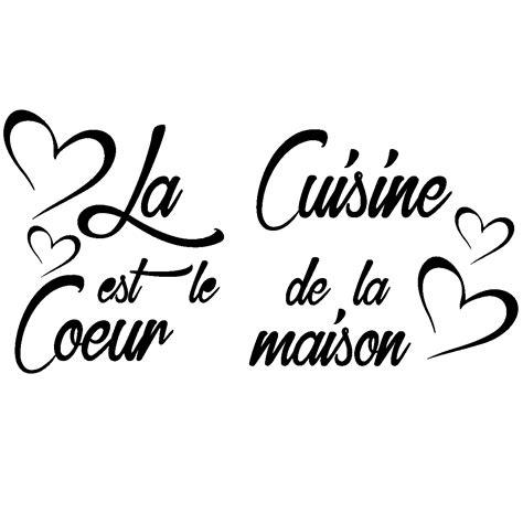 stickers ecriture cuisine sticker citation la cuisine est le coeur de la maison