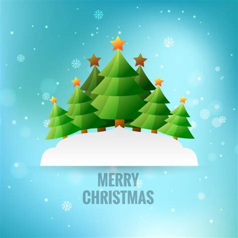 merry christmas greeting with christmas trees vector free download