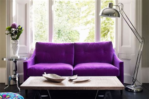 purple sofas living rooms couches that pop in the most traditional spaces