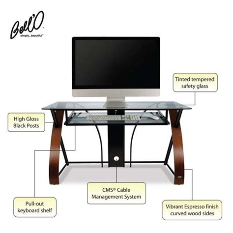 bell o computer desk bello glass computer desk with curved wood sides espresso