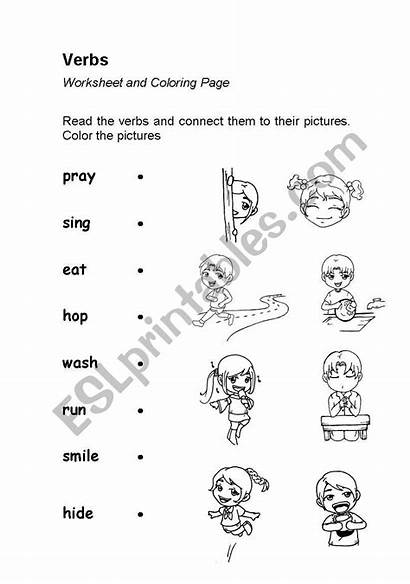Action Worksheet Verbs Verb Worksheets Words Kindergarten