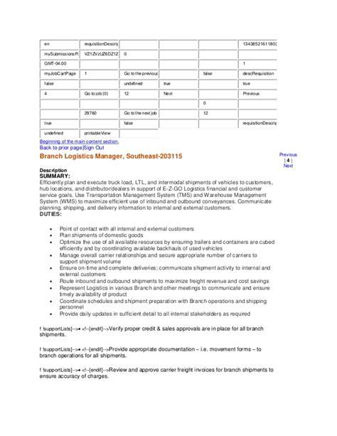 branch logistics manager description