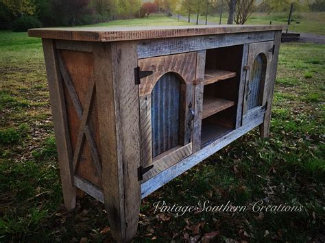 Reclaimed Barn Wood Entertainment Console By Vintage