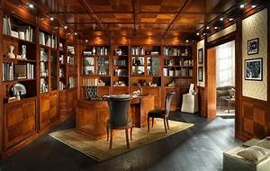 Office, Library, With, Wood, Paneling, And, False, Ceiling, In, Classic, Style, In, 2020