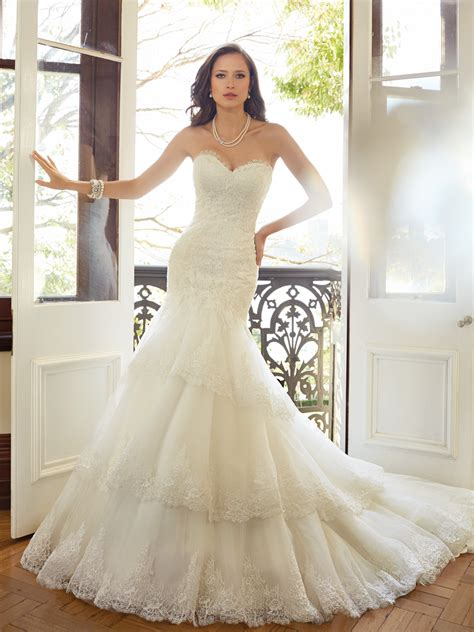 designer wedding dress fit and flare wedding dress with dropped waist