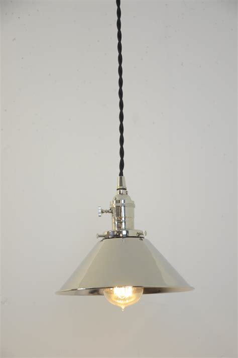 polished nickel cone shade industrial pendant light fixture