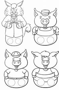 los 3 cerditos y el lobo bycened With the three little pigs puppet templates