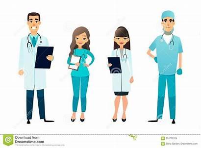 Surgeon Cartoon Staff Team Medical Nurse Hospital
