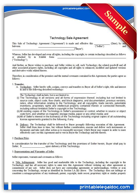 printable technology sale agreement exclusive form