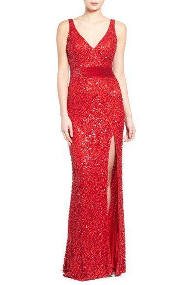 Mac Duggal 'Jennifer' V-Neck Sequin Gown   Nordstrom   Red ...