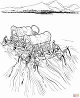 River Covered Raft Coloring Pages Wagons Settlers Wagon Pioneer Printable Navigate Supercoloring Expansion Westward Trail Frontier Drawing Oregon Dot Activity sketch template