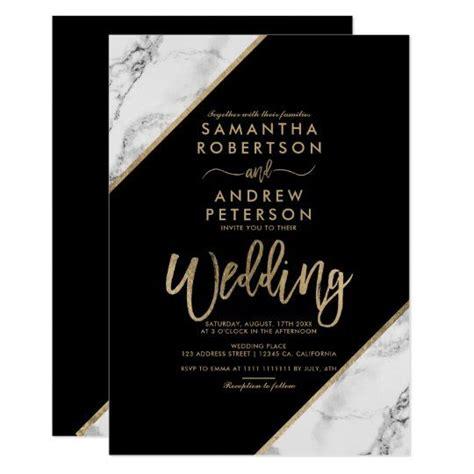 Gold marble stripes typography black wedding invitation