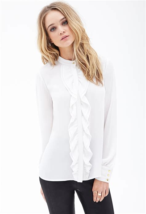 the blouse forever 21 ruffled buttondown blouse in white lyst