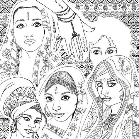 coloring book  adults indian african fashion
