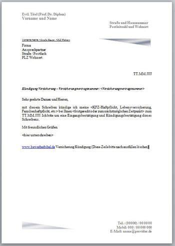 haus kündigung schreiben k 252 ndigung versicherung k 252 ndigungsschreiben vorlage