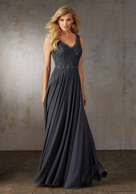chiffon evening gown  embroidery style  morilee