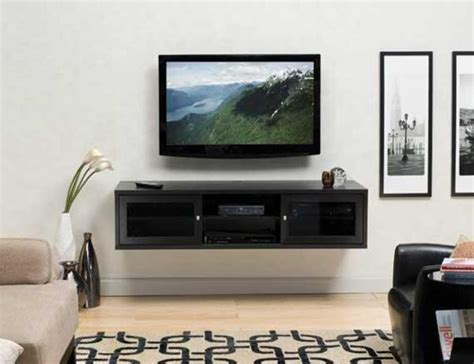 style flat panel tv install with wall mounted cabinet