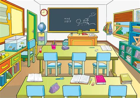 Cartoon School Classrooms, School Clipart, Classrooms