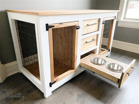 double dog crate furniture plans  pictures