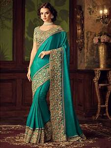 Buy green sequins work georgette saree with blouse Online