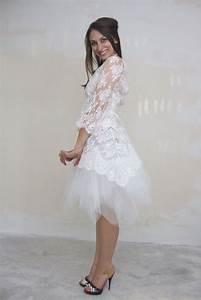 quotmargueritequot robe de mariee courte a manches en dentelle With robe marguerite