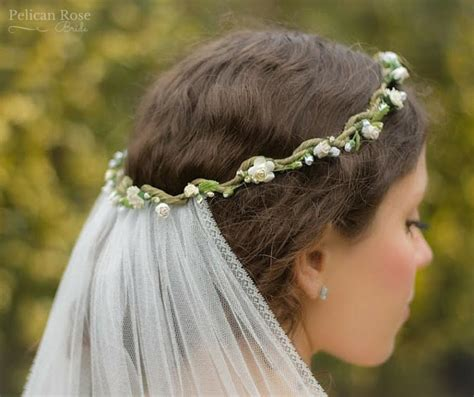 boho bridal flower crown  detachable veil pelican
