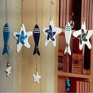 Wooden door wall decor : Wooden fish starfish hanging ornaments wall door decor