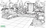 Garden Sketch Perspective Draw Drawing Patio Sketches Vertical Waterfall Creation Landscape Yard Sketching Landscaping Pergola Arcade Porches Waterfalls Deck Terrace sketch template