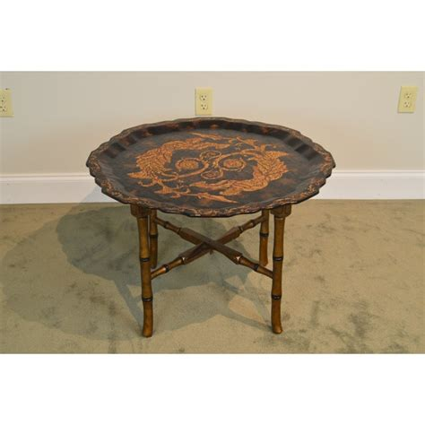 Elegant red wedding reception from black and gold coffee table, source:pinterest.com. Black & Gold Crackle Painted Finish Pie Crust Tray Top Faux Bamboo Coffee Table   Chairish