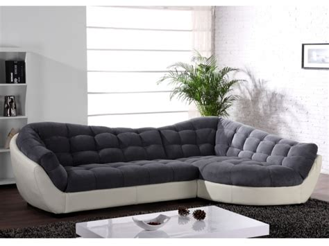 canapé d angle original canapé angle tissu et cuir 2 coloris bicolores leandro