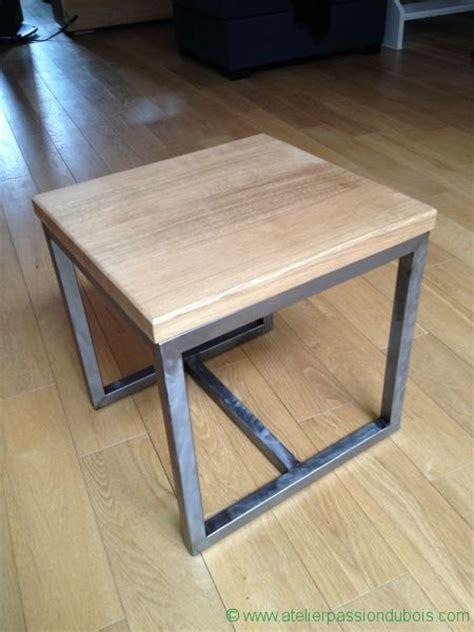 table appoint bois metal atelier du bois