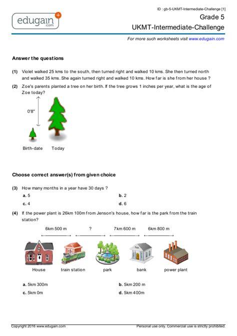 grade  ukmt intermediate challenge printable worksheets