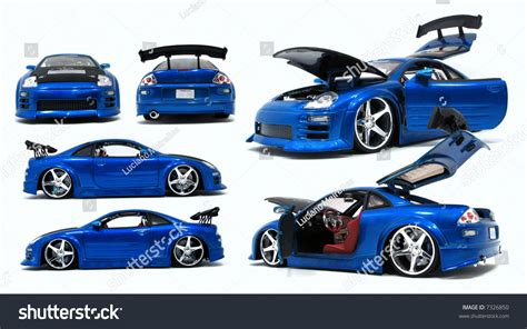 Blue Toy Car Different Angles Stock Photo 7326850