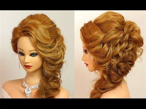 curly hairstyle  promparty medium long hair tutorial