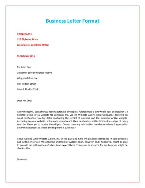 official letter format fillable printable