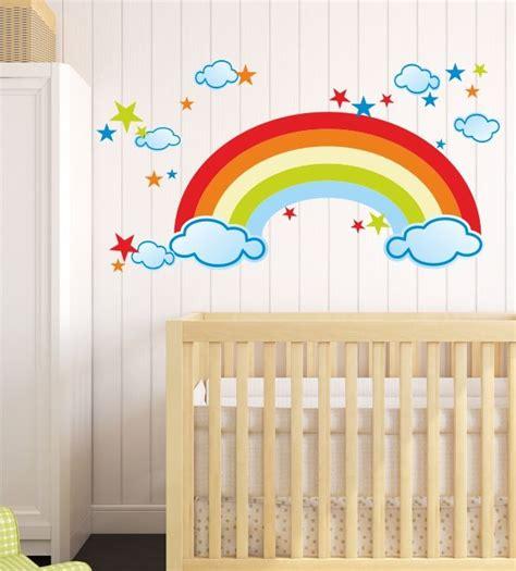 Kinderzimmer Wandgestaltung Himmel by Wandtattoo Kunterbunt Regenbogen Himmel Wolken