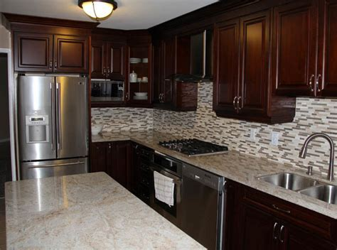 Dark Cherry Coloured Custom Kitchen Cabinets with Granite