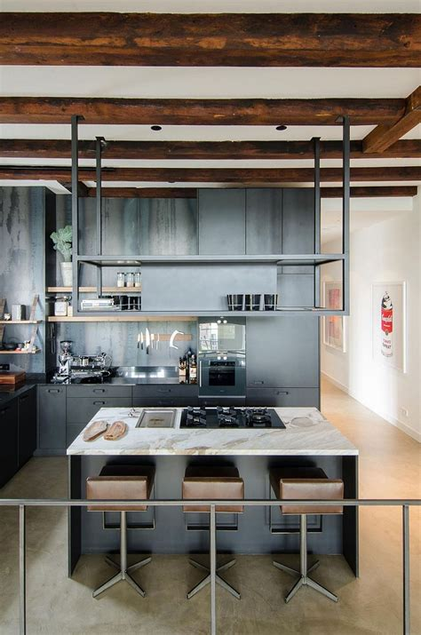 modern kitchen industrial modern kitchen with exposed wooden beams and Industrial