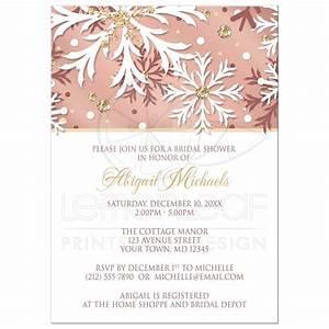 bridal shower invitations rose gold winter snowflake With rose gold winter wedding invitations