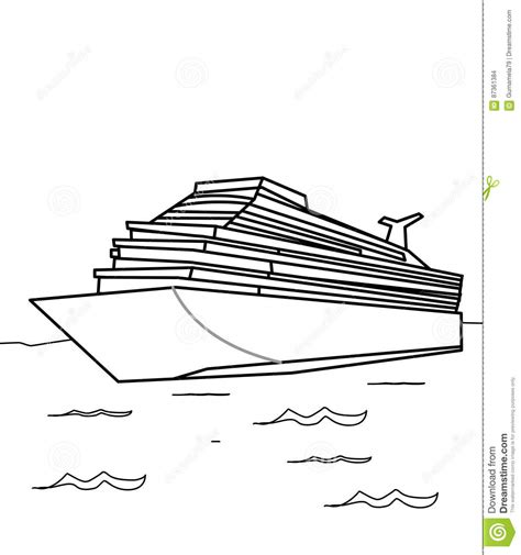 Cruise Ship Coloring Page Stock Illustration Illustration
