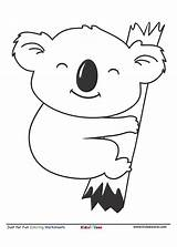 Coloring Koala Cartoon Kidzezone Koalas Animals Worksheet Letter Activity Bear Fun Activities Friends Tree Hugging Could Learning sketch template