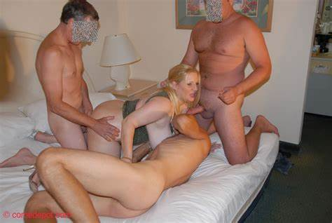Pretty Housewife Is Drilling Gangbanged