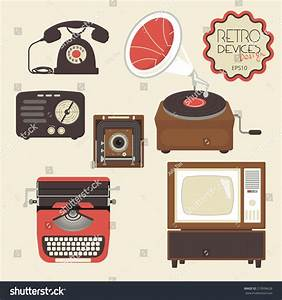 Retro Devices Collection Tv Radio Gamepad Stock Vector